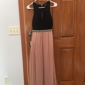 Black and champagne formal gown